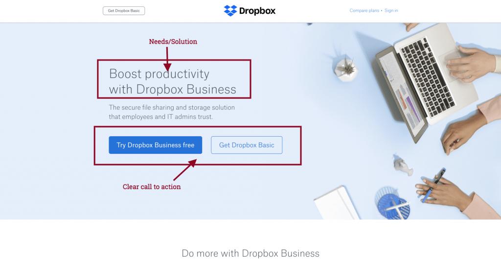 dropbox sales page